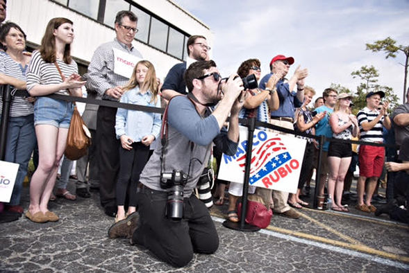 Hodgson photographing a Marco Rubio event in Largo, Florida. Photo credit: Melissa Lyttle.
