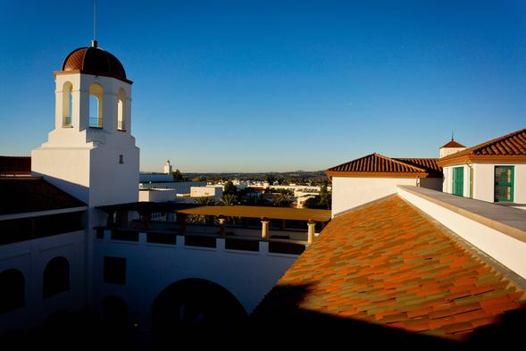 Roofline shot from the Conrad Prebys Aztec Student Union. (Credit: Paul Long)