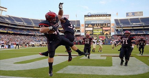 An Aztec celebrates a touchdown at last year's game against Colorado.