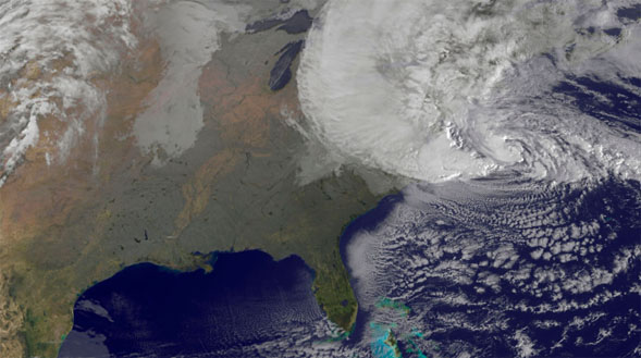A NASA satellite image of Hurricane Sandy from Oct. 29.