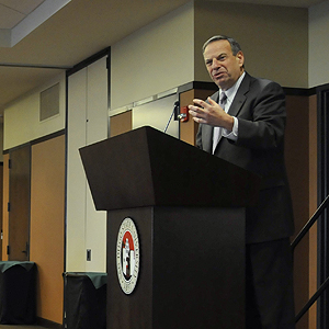 Congressman Bob Filner speaks with guests at the annual Martin Luther King Jr. Luncheon. Photo by Glenn Robertson, SDSU Marketing & Communications.