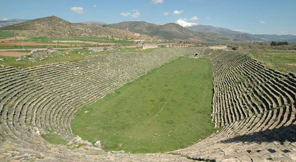 This stadium at Aphrodisias is similar to the one discovered by SDSU professor Robert Mechikoff in Alexandria Troas.