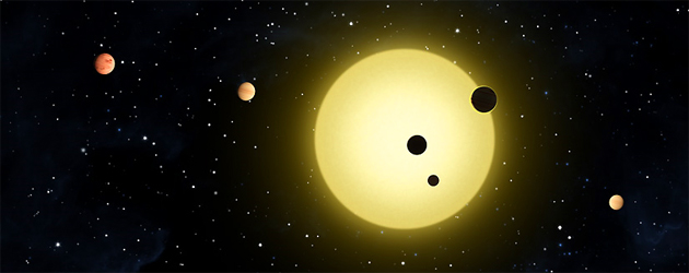 Kepler-11, located 2,000 light years away from Earth, is a newly discovered planetary system containing six planets orbiting a sun-like star.