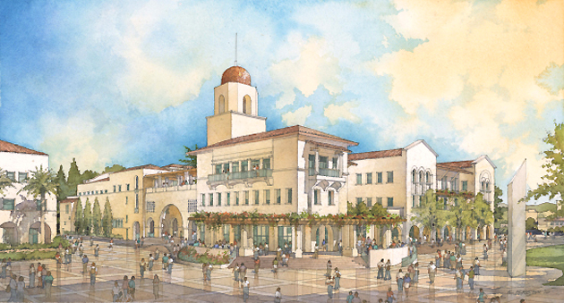 A rendering of the new Aztec Center