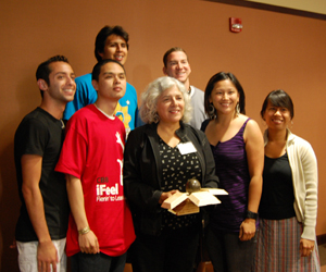 Maria Nieto Senour, Diversity Award recipient, poses with her students.