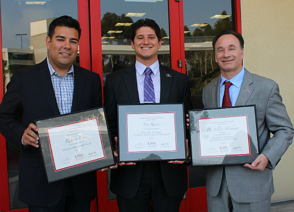 From left: California State Senator Ricardo Lara, 2012-13 A.S. Vice President of External Affairs Tom Rivera and SDSU President Elliot Hirshman, who all received awards at the event.