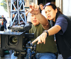 Recent SDSU film graduate Iris Caffin (right) directs a scene of