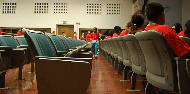 Students from Rosa Parks Elementary take their seats in Hardy Tower.