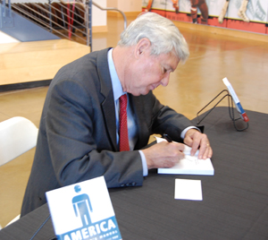 Retired Sen. Bob Graham signed copies of his book following his presentation.