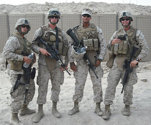 Marcus Ziemke (second from right) with other members of his Marine battalion in Afghanistan.