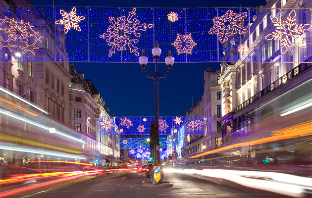 LED lights are used prominently in this holiday lighting display in London, England. Photo by David Iliff.