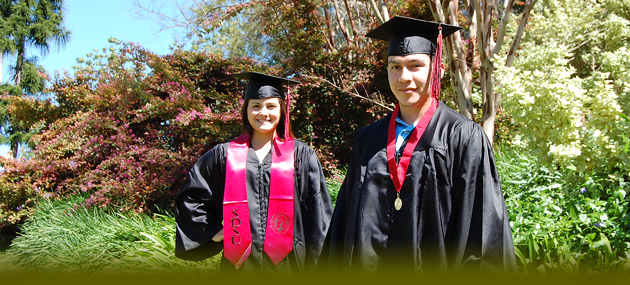 SDSU students Brittany Herrin and Wil Ferrel don sustainable caps and gowns, which are part of Josten's new enviromentallly-friendly line of graduation garb.