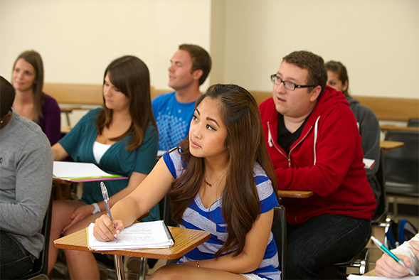 Students in an SDSU classroom.