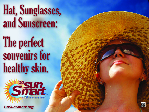 This poster is just one part of the Go Sun Smart program aimed at educating resort-goers about sun safety.