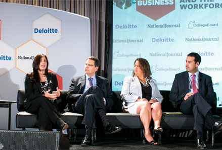Janet Abbott (left) spoke on innovation in education at the Back in Business Forum held in Washington, D.C. on June 19. Photo courtesy of National Journal.