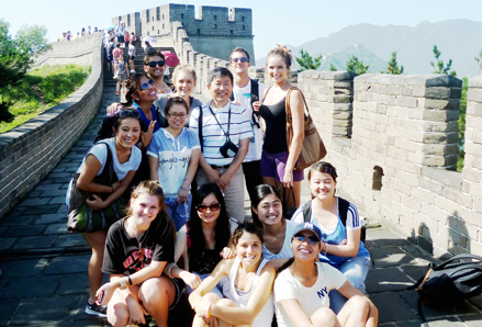 SDSU students at the Great Wall of China during a study abroad summer trip