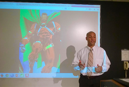 Brown infuses literature, comics, film and music into the course curricula.