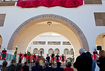 A crowd gathered to celebrate the largest gift to The Campaign for SDSU, $20 million from Conrad Prebys.