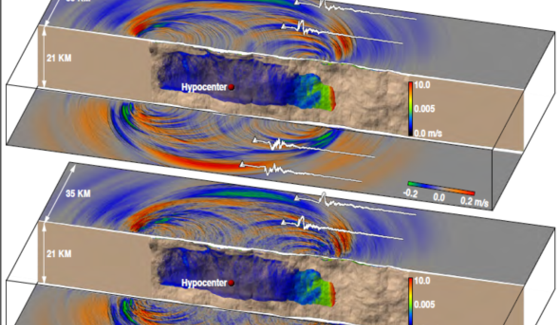 Snapshots of a 10-Hz rupture propagation and surface wave field. The bottom shot includes the effects of crustal variations, generating a strongly scattered wave field. Credit: Amit Chourasia, SDSC
