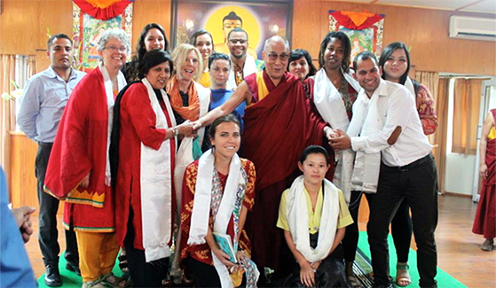 SDSU students with the Dalai Lama.