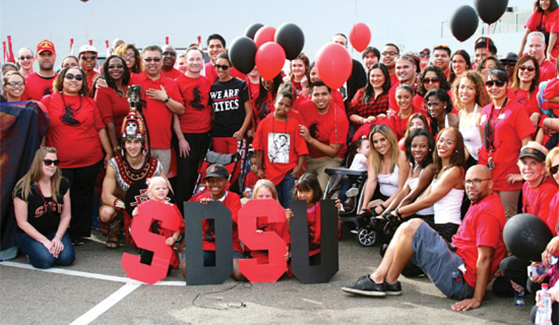 The SDSU delegation in the 2015 parade.