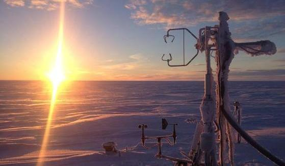 SDSU researchers Donatella Zona and Walter Oechel developed an on-demand heating system for atmospheric measuring towers, like this one in Atqasuk, Alaska.