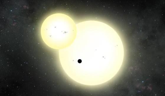 Artist's impression of the simultaneous stellar eclipse and planetary transit events on Kepler-1647 b.