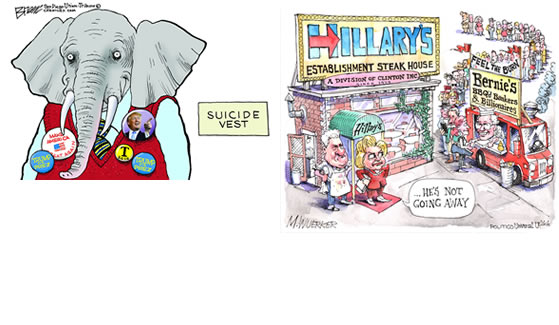 L-R: Steve Breen, Suicide Vest, 2015; courtesy of Breen and The San Diego Union Tribune; © Steve Breen; Matt Wuerker, Bernie's Food Truck, 2016; courtesy of the artist and Politico; © Matt Wuerker