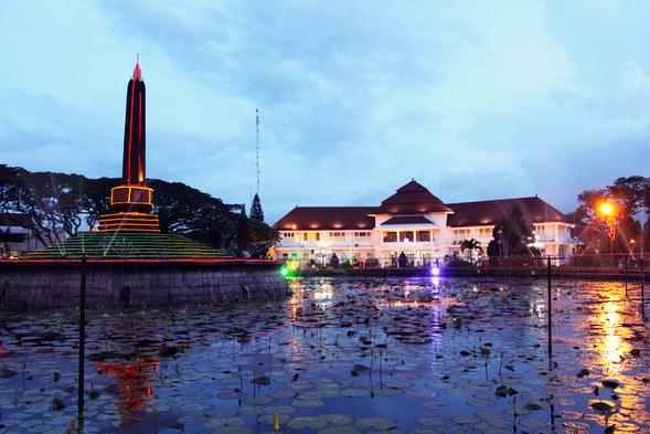 Tugu Monument in front of Malang City Hall in Indonesia.