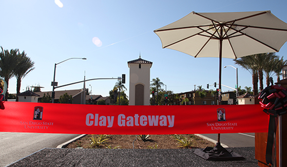 The Clay Gateway offers a formal campus entrance that will further enhance SDSU's unique architectural beauty.