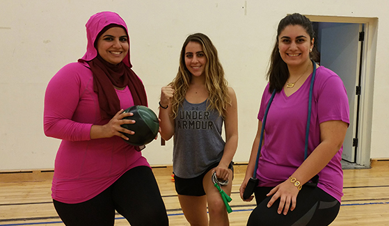 Sisters Exercising Together meets  from 3 p.m. to 4 p.m. on Tuesdays and Thursdays in Peterson Gym 241 through Dec. 6. (Photo: David Kahan)