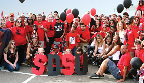 Students, faculty, staff, alumni and their families represent SDSU in the Martin Luther King Jr. Day Parade.