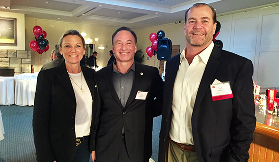 Lisa (left) and Tom Newton, ('90), with President Hirshman (center) on Jan. 25, 2017 in Atherton, Calif. (Credit: Tom and Lisa Newton)