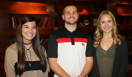 Mackensie Miller (left), Jacob Dayton (center) and Anya Shutovska were selected to receive $5,000 scholarships from SDSU Alumni.