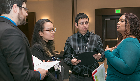 Students and researchers converse during a CSU I-Corps workshop earlier this year. (Credit: California State University)