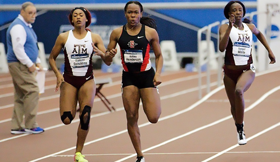 Ashley Henderson (center) finished in fourth place in the 60- and 200-meter dashes at the 2017 NCAA Indoor Track & Field Championships. (Credit: GoAztecs)