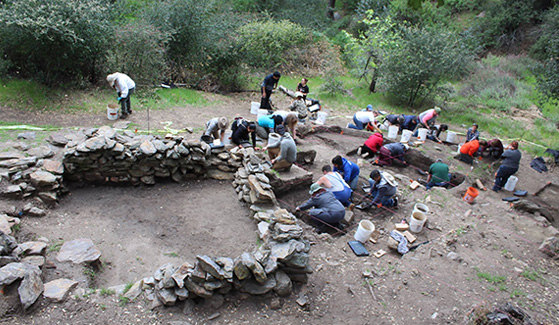 SDSU students spent five days during spring break digging at the homestead site of Nate Harrison, a legendary San Diego County pioneer. (Credit: Seth Mallios)