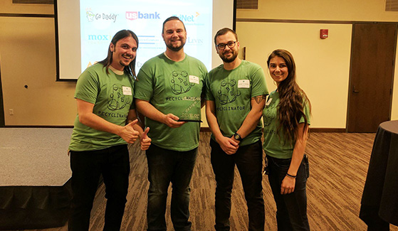 The founders of Recyclinator pose for a photo after the startup company placed second in last year's Zahn Innovation Challenge. (Credit: Recyclinator)