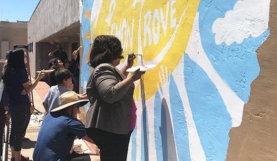 Students in SDSU's Sage Project and Lemon Grove community members painted a mural on the side of the Lemon Grove Recreation Center. (Credit: City of Lemon Grove)