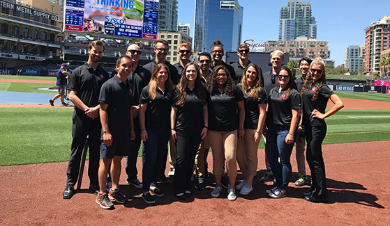 Students in SDSU's Sports Master of Business Administration program at Petco Park, home of the San Diego Padres.
