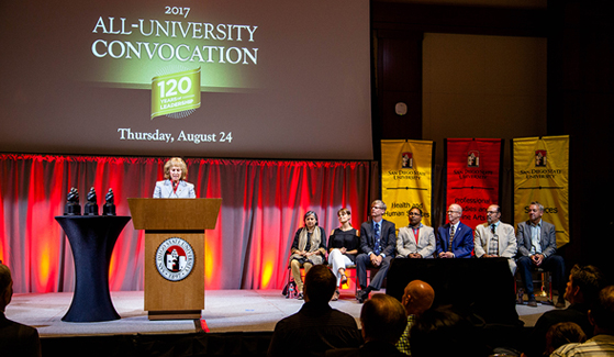 SDSU President Sally Roush (left) speaks during the 2017 All-University Convocation.