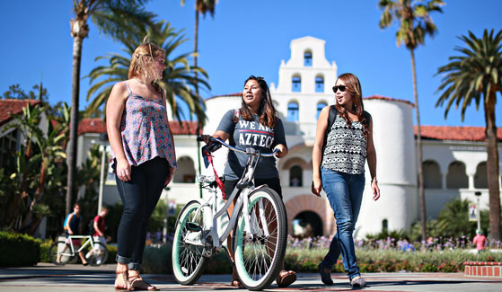 SDSU students in front of Hepner Hall. (Photo: Sandy Huffaker Jr.)