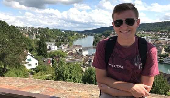 SDSU student Brandon Einstoss in Switzerland