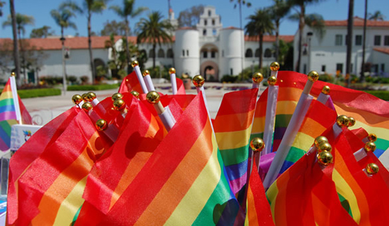 Pride Flags in front of Hepner Hall