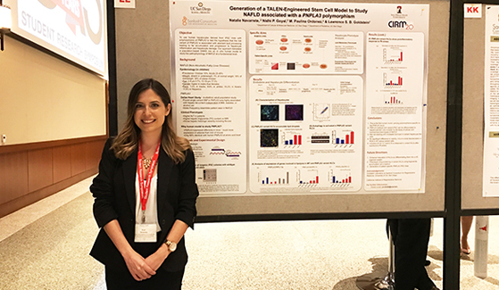 An SDSU student poses in front of her work at last year's Student Research Symposium.