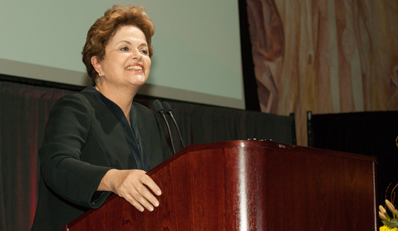 Former Brazilian President Dilma Rousseff spoke at SDSU as part of the Provost's Distinguished Lecture Series.