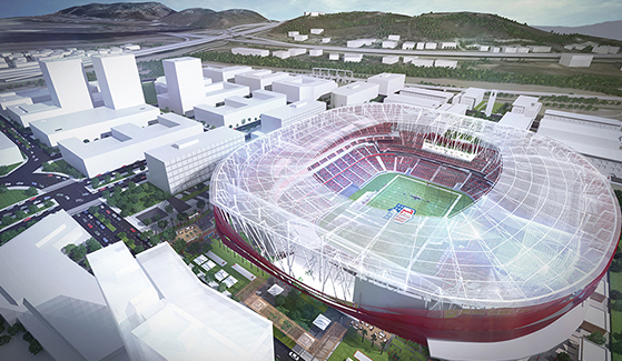 Renderings of a multi-use stadium in Mission Valley that could serve as a future home of a San Diego National Football League franchise