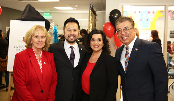From left to right: SDSU President Sally Roush, Associate Vice President for Student Affairs Tony C. Chung, EOP Director Miriam C. Castañón and Vice President for Student Affairs Eric Rivera