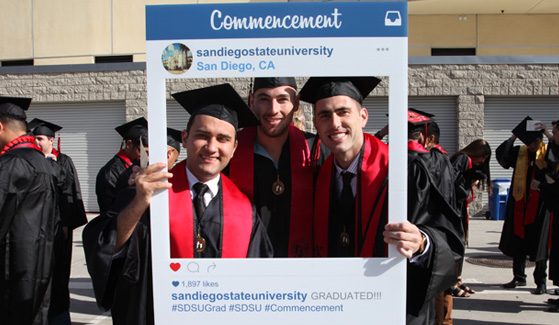 Catch the sights and sounds of SDSU's commencement on social media.