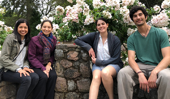 SDSU students Anita Sanchez (left) and Lorelay Mendoza (second to left) are conducting research this summer at the University of California, Berkeley.